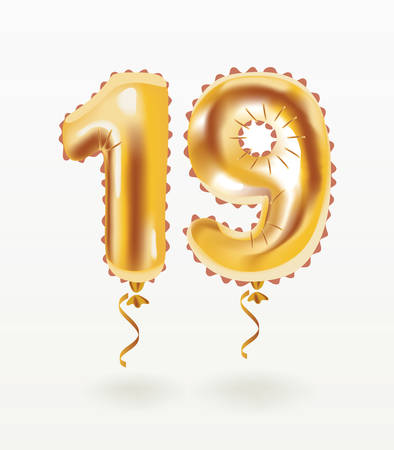 Vector cartoon illustration of 19 Years Golden Aluminum Foil air Balloon anniversary inflatable isolated on white background