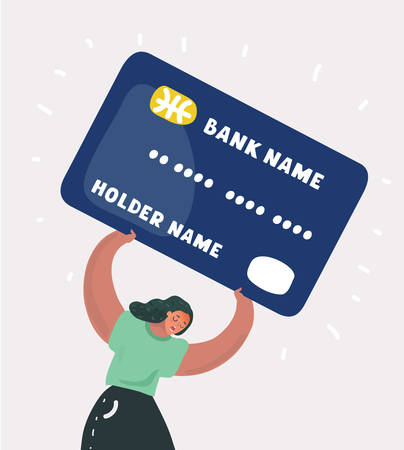 Vector cartoon illustration of woman c drowning with heavy credit card debt concept. Suffering lady on white bacground. Illustration