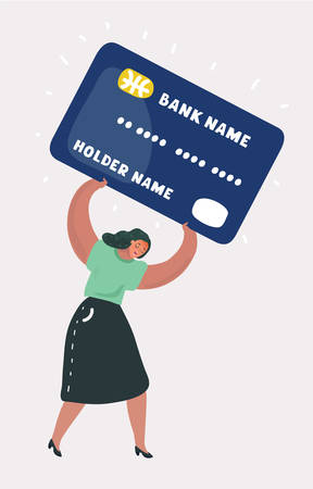 Vector cartoon illustration of shopping and paying woman with a debit heavy card. Character on white bakcground. Vettoriali