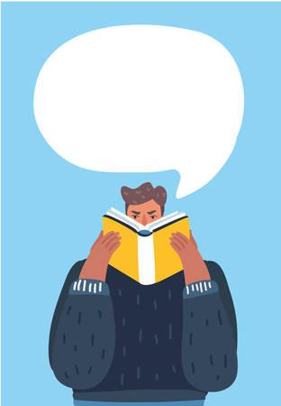 Vector cartoon illustration of man reading a book with speech bubbles. Illustration