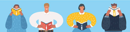 Vector cartoon funny illustration of People reading books. Male and female character on blue background. Different men and women.