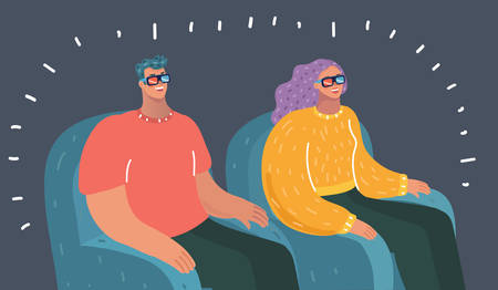 Vector cartoon illustration of Relaxed happy young couple watching tv. Human character on dark bakcground.  イラスト・ベクター素材