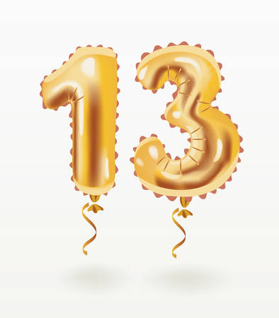 Vector cartoon illustation of gold air inflatable balloons, thirteen shape years anniversary celebration on white backround. 일러스트