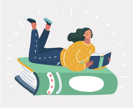 Vector cartoon illustration of a girl lying on a big green book. Illustration