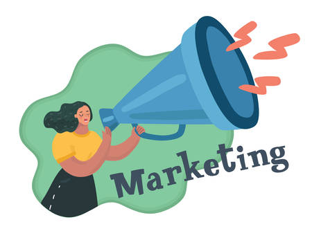 Vector illustration of a beautiful girl holding a loudspeaker. Happy womans face with a megaphone telling a news. Marketing concept.