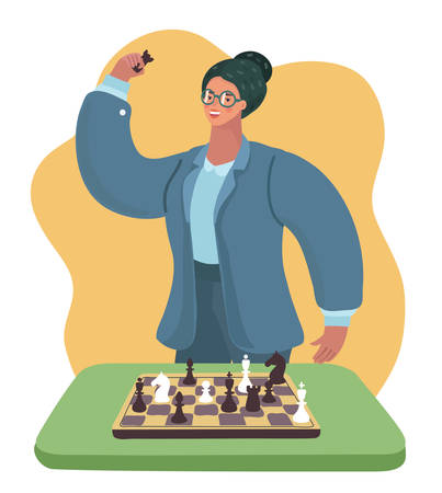 Vector cartoon illustration of funny cartoon smiling clever woman with glasses playing chess 일러스트