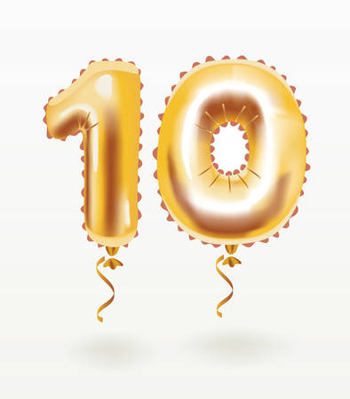 Vector cartoon illustration of The number ten 10 for birthday greeting card. graphics. Air balloon number on white background.