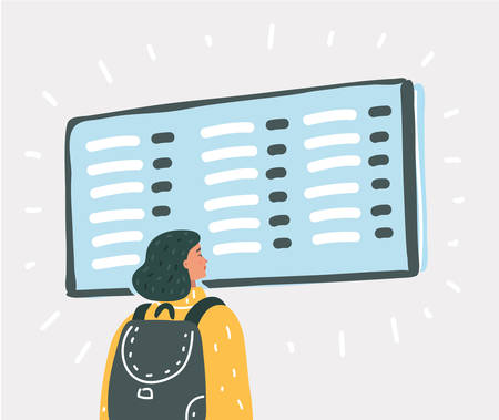 Vector cartoon illustration of Young woman waiting for a flight at the airport. Passenger standing at the airport and look at departure board.  イラスト・ベクター素材