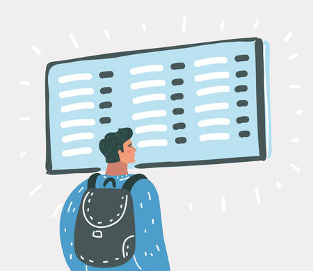 Vector cartoon illustration of Young man with backpack in airport near flight timetable.  イラスト・ベクター素材