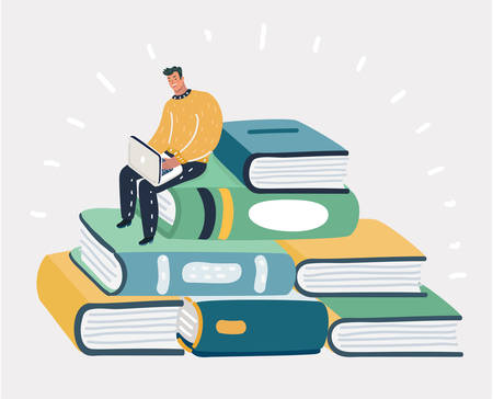 Vector cartoon illustration of man reading the book, sitting on pile. Human charater on white background.