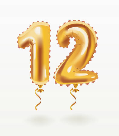 Vector cartoon illustration of The number for 12 birthday greeting card. Air balloon number twelve. Inflatable object on white background.