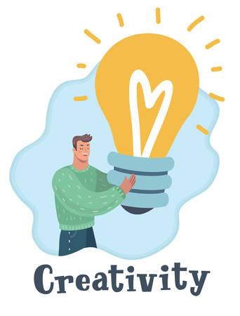 Vector cartoon illustration of creativity. Man with big idea, holding light bulb in his hand.