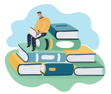 Man sitting and reading on a huge pile of books. Student self education and knowledge concept. Ilustração
