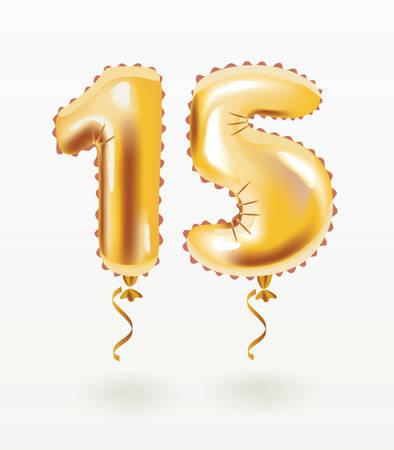 Vector cartoon illustration of Golden number fifteen metallic balloon. Party decoration golden 15 inflatable shape. Anniversary sign for happy holiday, celebration, birthday, carnival, Metallic design balloon.