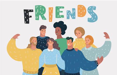 Vector cartoon illustration of Group of happy friends, getting together. Ilustração