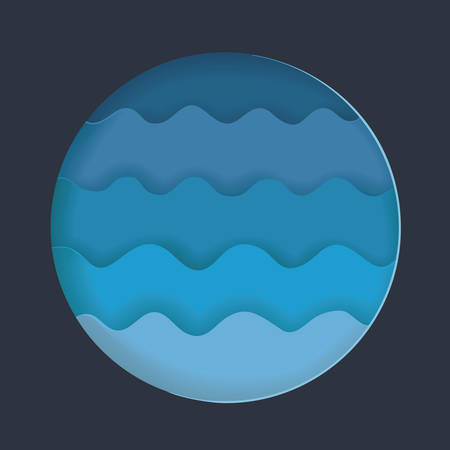 Vector paper cut water waves Cartoon art illustration in minimalistic craft carving style pn dark bakcground. Modern layout colorful concept for background cover, poster, card.