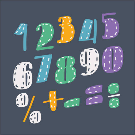 Vector cartoon illustration of Collection of digits. Numbers, figures. Division, exclamation point, multiplication, percent, equals, minus.