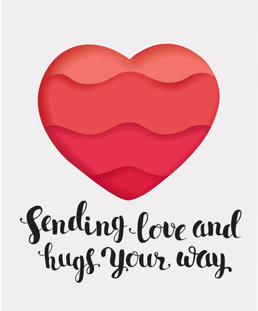Vector catoon illustration of red background with a heart frame. Sending love and hugs Your way card. Paper cut object.