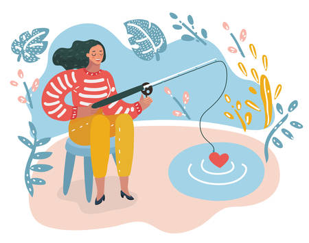 Vector cartoon funny illustration of Happy Woman with rod Fishing heart shape symbol From Pond Concept. Female character try to find love. Ilustração