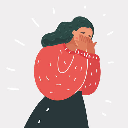 Vector cartoon illustraiton of Weeping woman emotions grief. Crying girl close her eyes with her hands
