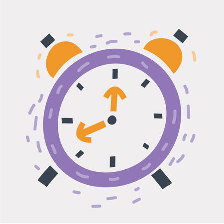Vector cartoon illustration of alarm clock. Sketch Alarm clock hand drawn concept on white background.