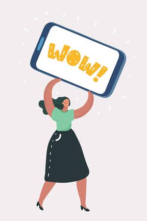 Vector cartoon illustration of Woman holding big Cell Smart Phone on White Background. Ilustração