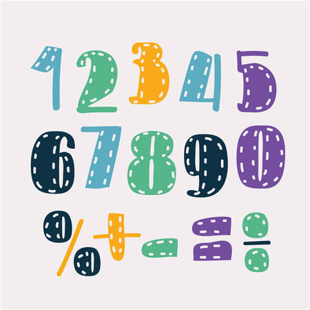 Vector cartoon set o of color hand drawn corlored numbers, division, exclamation point, multiplication, percent, equals, minus