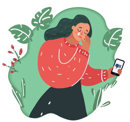 Vector cartoon illustration of woman was crying. Phone message bad and dislike.