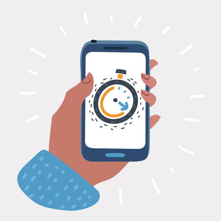 Vector cartoon illustration of phone with app alarm or timer clock on the screen phone holding human hand. Mobile technologies concept.