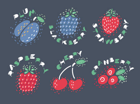 Vector color cartoon set illustration of different kinds of berries with inking and lettering name in English on dark isolated background. Sketch object .