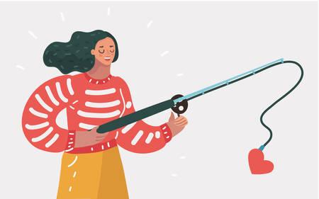 Nettes junges glückliches Frauenmädchen mit einer Angelrute versuchen, Liebe zu fangen. Suche nach einem Paar oder Anerkennung, Selbstakzeptanz. Konzept auf weißem Hintergrund isoliert.