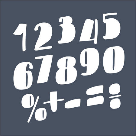Vector cartoon illustration of whiet funny numbers, isolated on the dark background. Division, exclamation point, multiplication, percent, equals, minus Ilustração