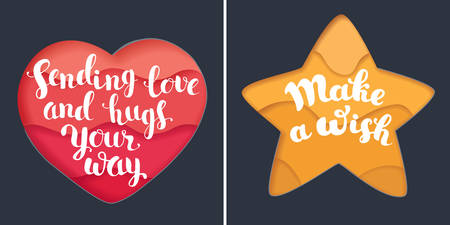 Vecotor cartooon set of two card with hand drawn lettering on paper cut heart and star shape card on dark bakcgound.