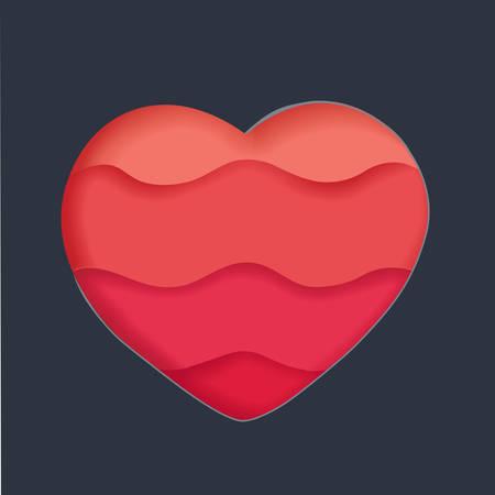 Vector cartoon illlustration of red hear ont dark bakcground. Paper heart sign on dark background. Design element for Happy Valentines Day.