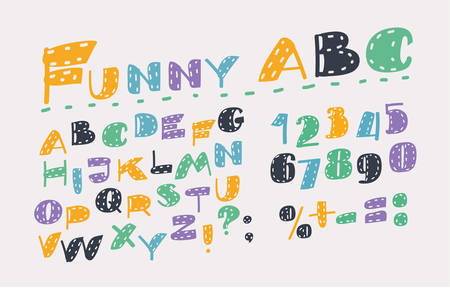 Vector cartoon illustration of Slanted Style Sans Font. Colorful Alphabet in different colors. Capital letters and numbers on white bakcground.