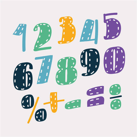 Vector cartoon set alphabet numbers. Division, exclamation point, multiplication, percent, equals, minus Illustration