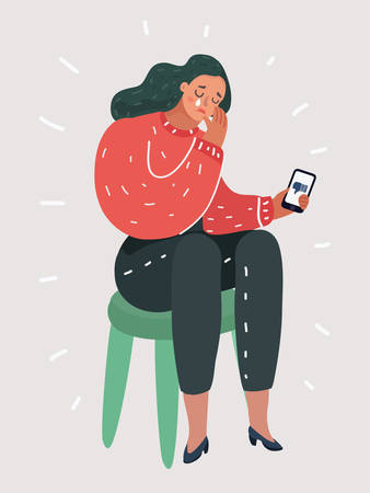 Vector cartoon illustraiton of woman was crying, sitting at the chair Phone message bad. Dislike concept. Female human character depression sad, crying concept on isolated white background. Illustration