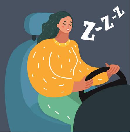 Vector cartoon illustration of portrait of sleepy female driver dozing off while driving on dark bakcground. Modern famale character. Illustration