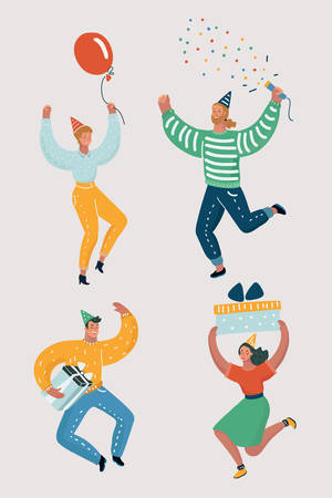 Vector cartoon illustration of funny selebrate people dancing at a party. People are dancing, having fun at a party. Jumping and dancing man and woman.