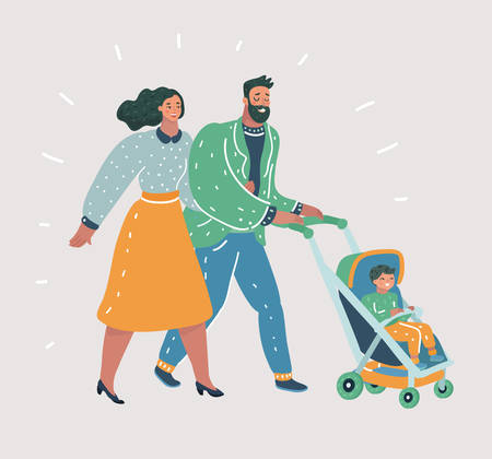 Vector cartoon illustration of young Parents Walking with Their Little Children Strolling with Baby Carriage, Spending Time Together Cartoon. Human Characters on white isolated background. Vetores