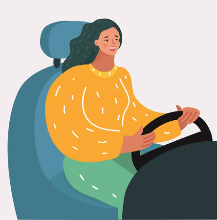 Vector cartoon illustration of young girl sitting behind the wheel of a car, looking forward, holding hands on steering wheel. Woman driving.