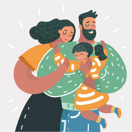 Vector cartoon illustration of Happy family. Father, mother, daughter. Parents are keeping on the hands of their children. Çizim