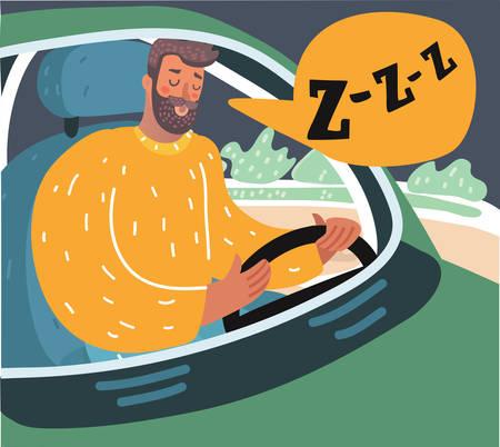 Vector cartoon illusstration of a tired man sitting in traffic. Sliping driver. Illustration