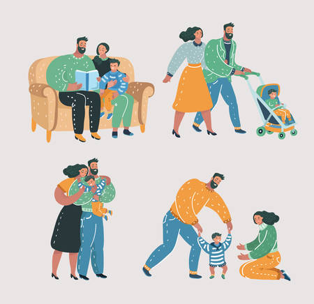 Vector cartoon illustration of Set scenes of family life. Mother, father and son. Reading book, walking with stroll, help make first step, give a hug. 일러스트
