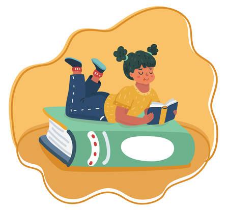 Ilustración de dibujos animados de vector de niña leyendo en libro grande. Ilustración de vector