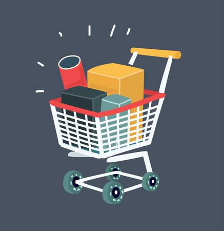 Vector cartoon illustration of Trolley full of products in supermarket. Object on dark bakcground.