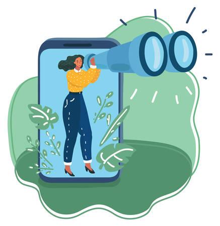 Ilustración de dibujos animados de vector de mujer mira cuidadosamente a través de binoculares en la distancia. Recopilación de datos, concepto de investigación. Personaje mira la pantalla del teléfono inteligente.