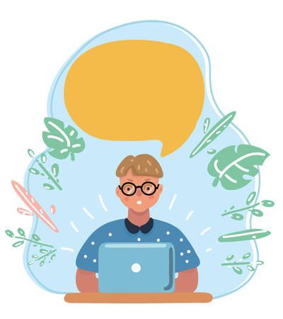 Illustrazione del fumetto di vettore del ragazzino intelligente intelligente con gli occhiali, pensando al computer portatile. Fumetto sopra di lui.
