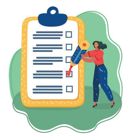 Illustration de dessin animé de vecteur de femme positive avec une liste de contrôle marquée au crayon géant sur un papier presse-papiers. Réussite des tâches commerciales.