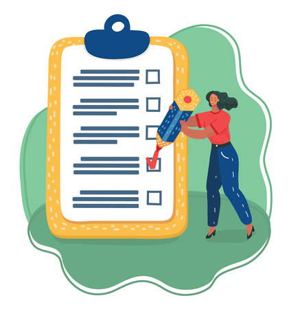 Vector cartoon illustration of Positive woman with a giant pencil marked checklist on a clipboard paper. Successful completion of business tasks.  イラスト・ベクター素材